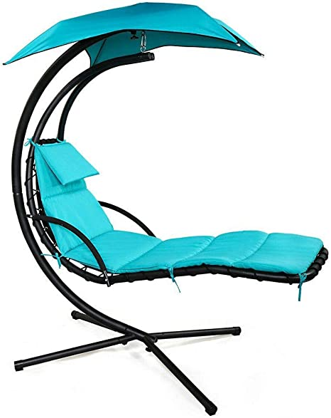 Patio and More Curved Chaise Lounge Chair Swing for Backyard Green Ezone Outdoor Hanging Hammock Chair Lounge Swing