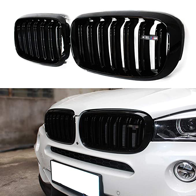 2 Non-Carb Compliant Atomsonic AMSGBGBMWF15 Black N//A Atomsonic Gloss Black Front Bumper Hood Kidney Grille Grill for 2014-2018 BMW F15 X5