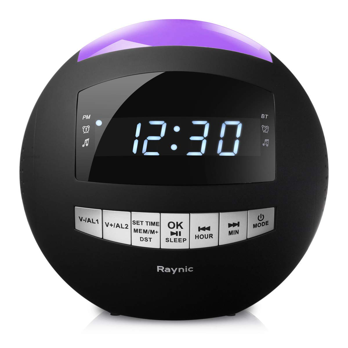 Alarm Clock Radio - Digital Clock with Dual Alarms, AM/FM Radio, Dual USB Charging Ports, 7-Color Night Lights, Bluetooth, Dimmer for Kids, Heavy Sleepers, Bedroom