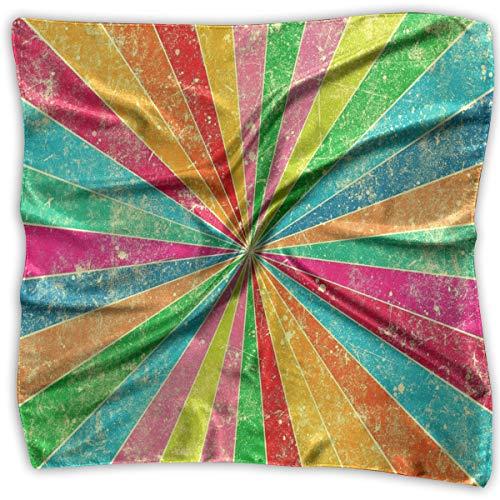 Diagonal Stripe Scarf - Girl's Silk Scarf Colorful Diagonal Stripes Printed Square Scarf Sunscreen Shawls 39