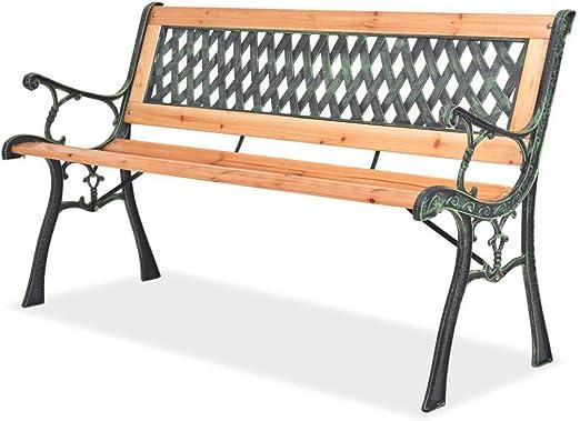Banco de jardín con respaldo, banco de jardín para exteriores, banco para parque de madera, 122 x 51 x 73 cm: Amazon.es: Hogar