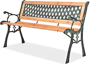 Tidyard Outdoor Garden Bench Patio Porch Chair Seat with Backrest Wood Seat Wrought Iron Frame Courtyard Decoration Park Furniture 48 x 20 x 28.7 Inches (W x D x H)