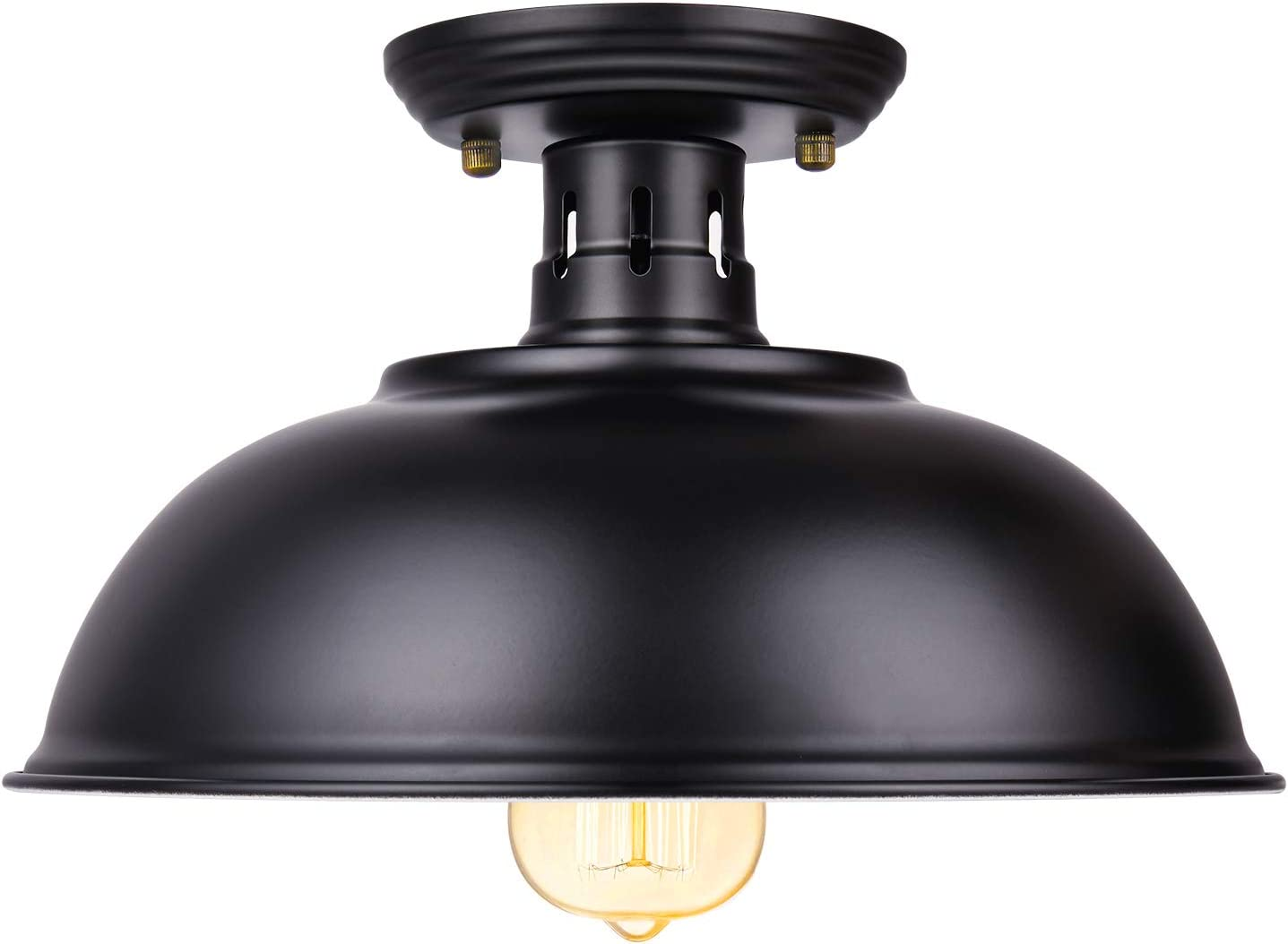Vintage Rustic Semi Flush Mount Ceiling Light, Farmhouse Black Ceiling Light Fixture E26 Base, Industrial Ceiling Lights for Hallway Stairway Foyer Kitchen Porch Entryway