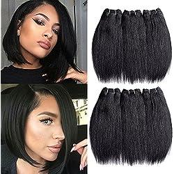 "Inaly Brazilian Hair 6 Bundles Weave 8"" Short Straight Virgin Human Hair Extensions for Black Women Natural Black Color (300g/6pcs)"