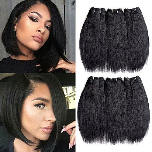 "Inaly Brazilian Hair 6 Bundles Weave 8"" Short Straight Virgi"