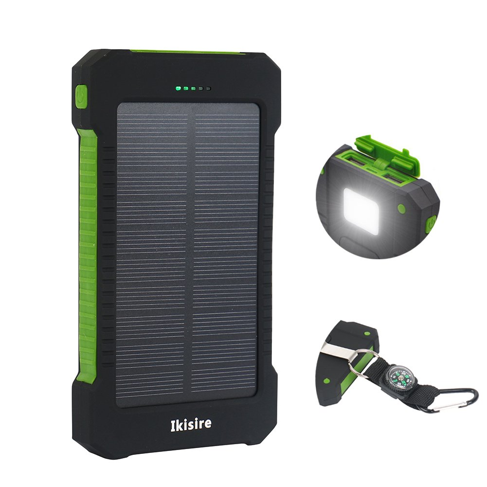 Ikisire 10000mAh Solar Charger - Portable Solar Power Bank Dual USB External Battery Pack with Compass and LED Light for iPhone, iPad, iPod, Android Phones, Tablet and Gopro Camera