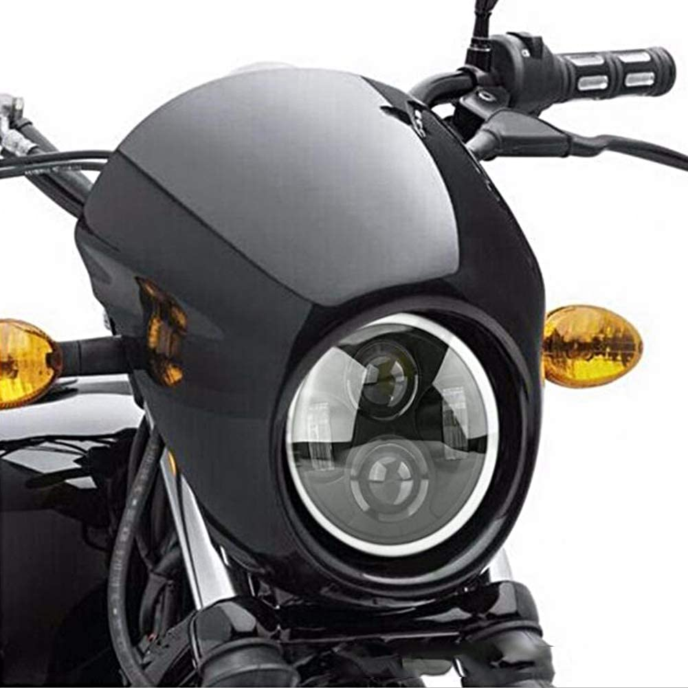 Fydun Phares de moto r/étro LED phare 5.75 pouce ouverture phare lumineux LED phare moto avant lampe ronde