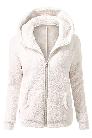 bf3615a781 Vertvie Femme Veste Polaire Zippé Sweat-Shirt à Capuche Manteau Hoodie Chaud  Automne Hiver (