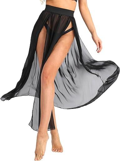 ranrann Falda de Playa para Mujer Chifón Falda Larga Verano Falda ...