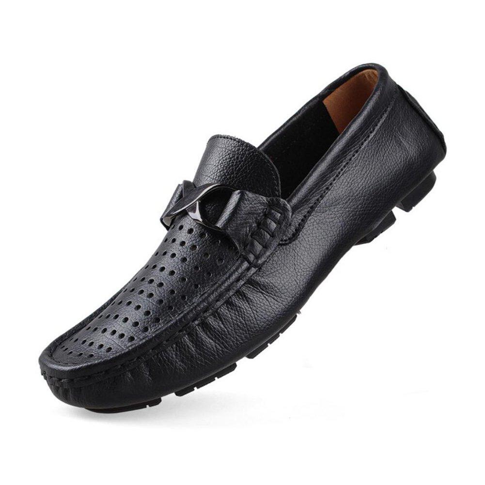 CAI Herrenschuhe PU Frühling/Sommer / Herbst Peas Schuhe Fahren Schuhe Loafers & Slip-Ons im Freien/Büro Weichen Boden Lederschuhe Einzelne Schuhe (Farbe : Schwarz, Größe : 44)