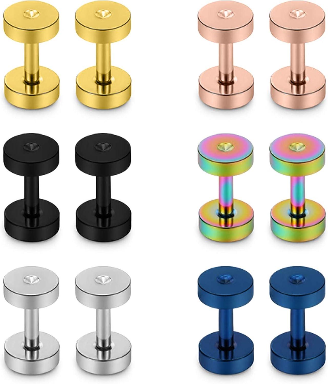 Lcolyoli Screw Fit Ear Gauges Kit Surgical Steel Tunnel Expander Earrings Earlobe Plugs Body Piercing Jewelry Set for Women Men 14G-00G 12 Pieces