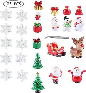 Swovo Christmas Garden Ornaments, 27 PCS Fairy Garden Dollhouse Decoration Micro Landscape Flowerpot Resin Snowman,Santa,Deer,Xmas Tree,Snowflake,Carriage with Tweezer