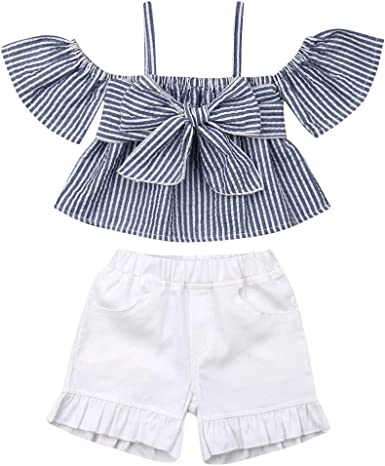 Toddler Kids Baby Girl Off Shoulder Striped Crop Top Bowknot Blouse+Ruffle Shorts Summer Outfit