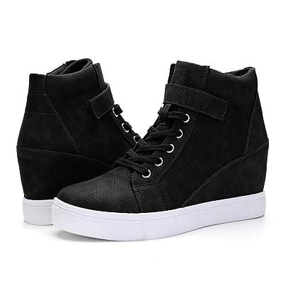 XMWEALTHY Women's Casual Wedges Sneakers Lace Up Hook Loop Fashion Sneaker High Top Hidden Heel Wedges Shoes   Fashion Sneakers