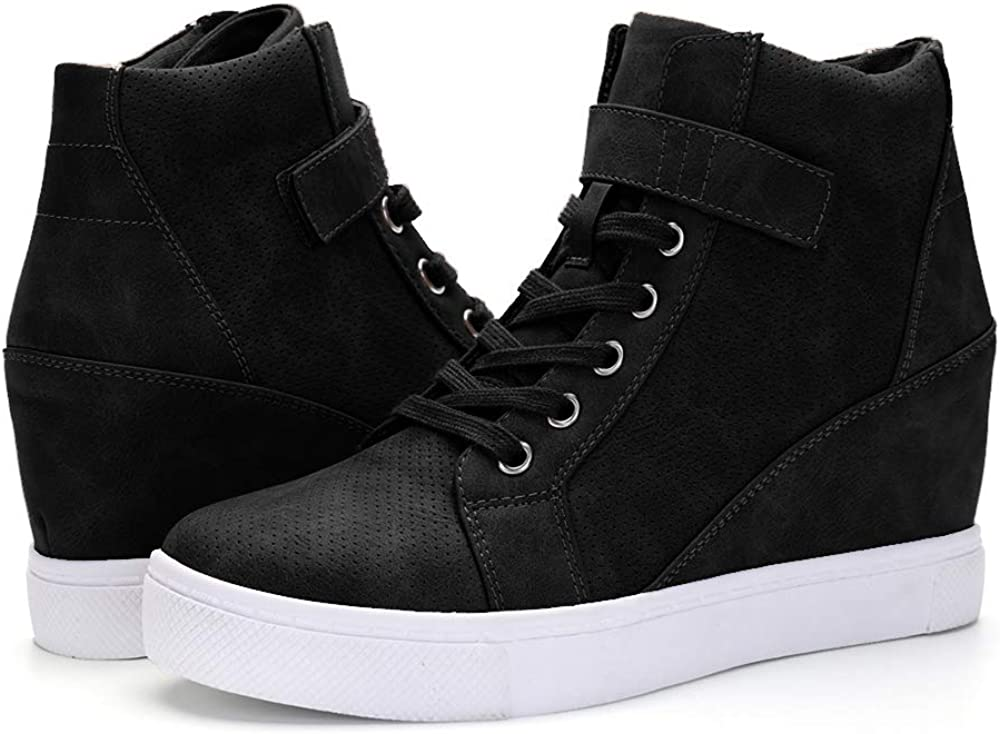 XMWEALTHY Women s Casual Wedges Sneakers Lace Up Hook Loop Fashion Sneaker High Top Hidden Heel Wedges Shoes