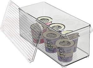 mDesign Plastic Stackable Kitchen Pantry Cabinet, Refrigerator or Freezer Food Storage Bin with Handle, Lid - Organizer for Fruit, Yogurt, Snacks, Pasta - Clear/Smoke Gray