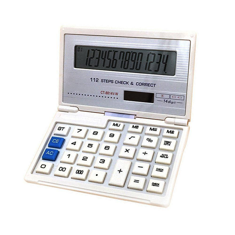 Dixinla Calculator 14-Digit Digital Display Solar Flip Financial Calculation