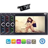"""6.2"""" Car DVD CD Player in Dash Navigation Double Din Car Radio GPS Navigation Support Wireless Bluetooth Music SWC FM/AM RDS Radio USB/TF AUX Subwoofer 1080P Cam-in + Free Rear Camera"""