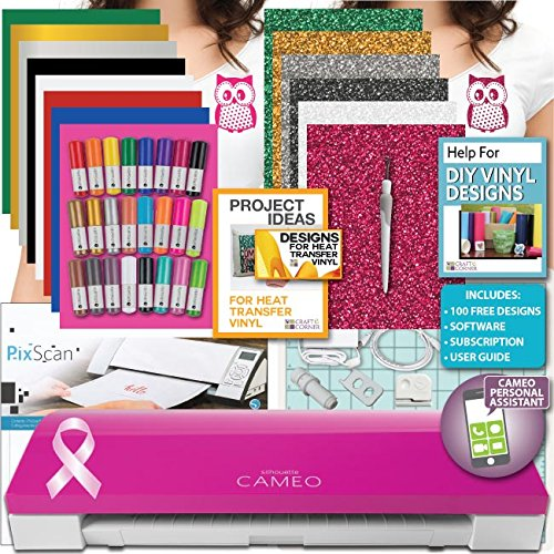 Pink Silhouette Cameo 3 Machine Bundle 3-Siser Heat Transfer Pens PixScan Tool by Silhouette America