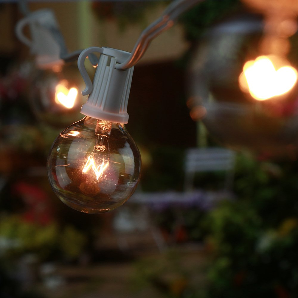 GMY Lighting G40 Globe String Lights 25 Clear Bulbs, Garden, Holiday, Party, Indoor or Outdoor Decor Fairy Strip Light White Wire