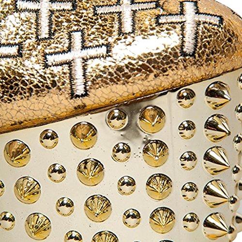 de Botas de GOLD trabajo de otoño Zip cruzados Zapatos mujer gold 8020FD Botas altos para 36 de oro Cuero del impermeable Tirantes remache Botas 35 Tacones alta invierno Plataforma CYq0x