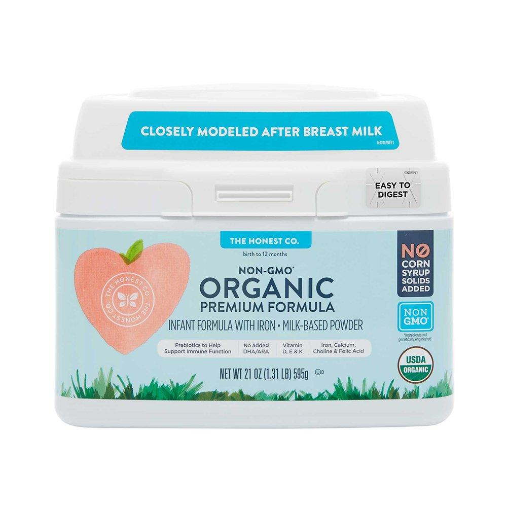 The Honest Company Organic Premium Infant Formula with Iron & Prebiotics for Immune Support   Non-GMO   Gluten Free Baby Formula   Vitamins D, E & K   21 oz.
