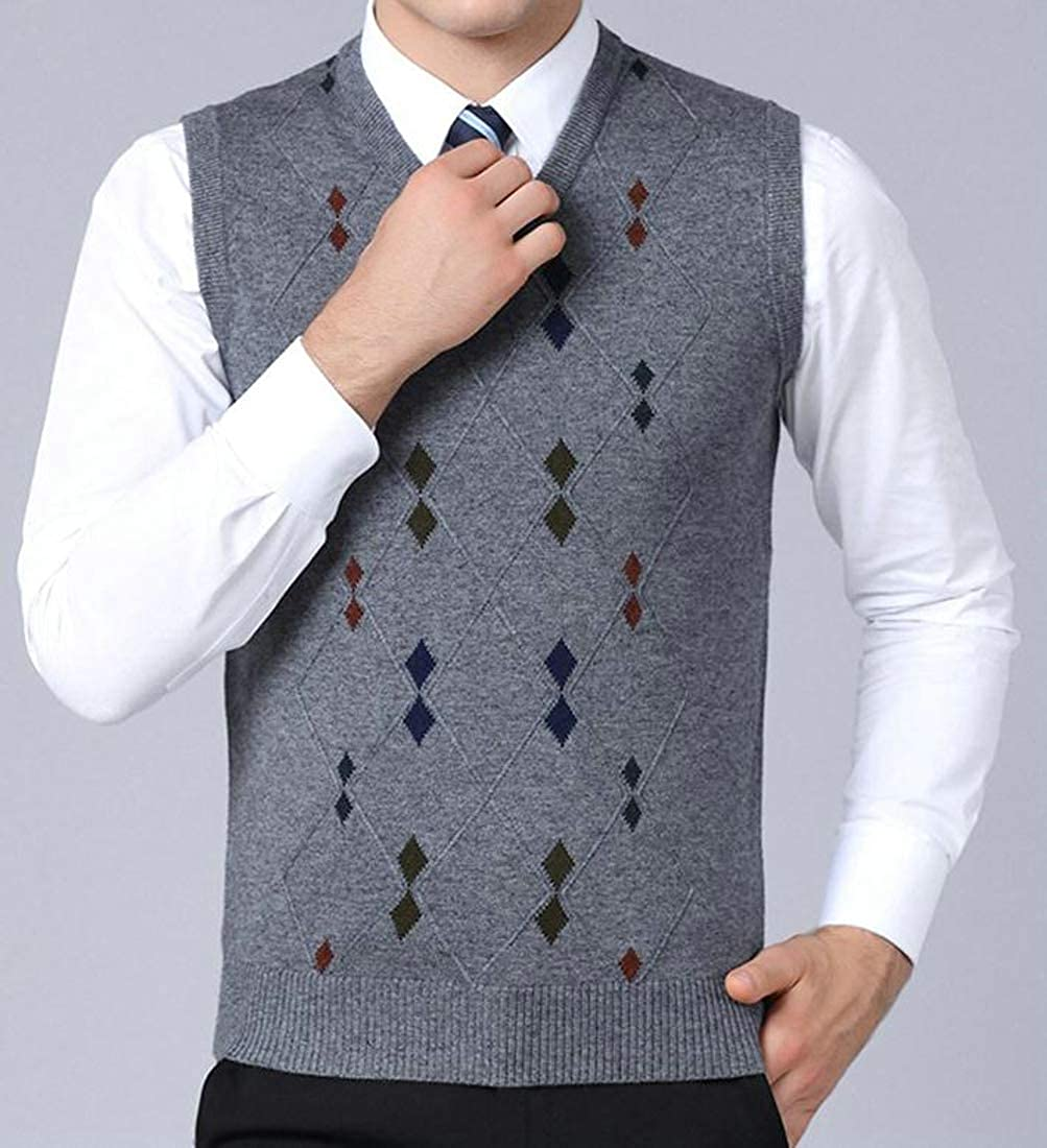 Etecredpow Mens Waistcoat Sleeveless Casual Slim Fit Knitted Argyle Vest