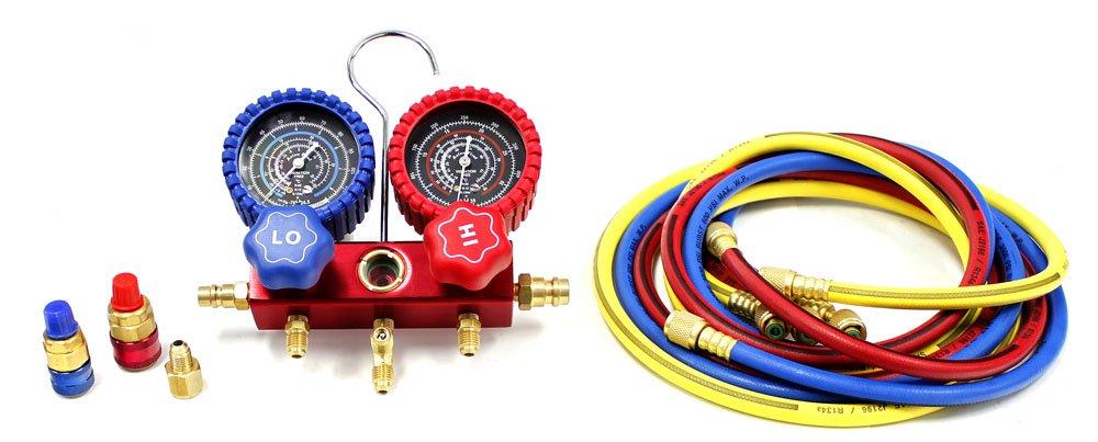 Powerbuilt 641441 Dual R12/R134A A/C Manifold Gauge Kit