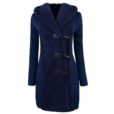 Culater® Mujeres Moda Invierno Gruesos Botones Cálidos Abrigo Parka Hoodie Outwear (S, Azul