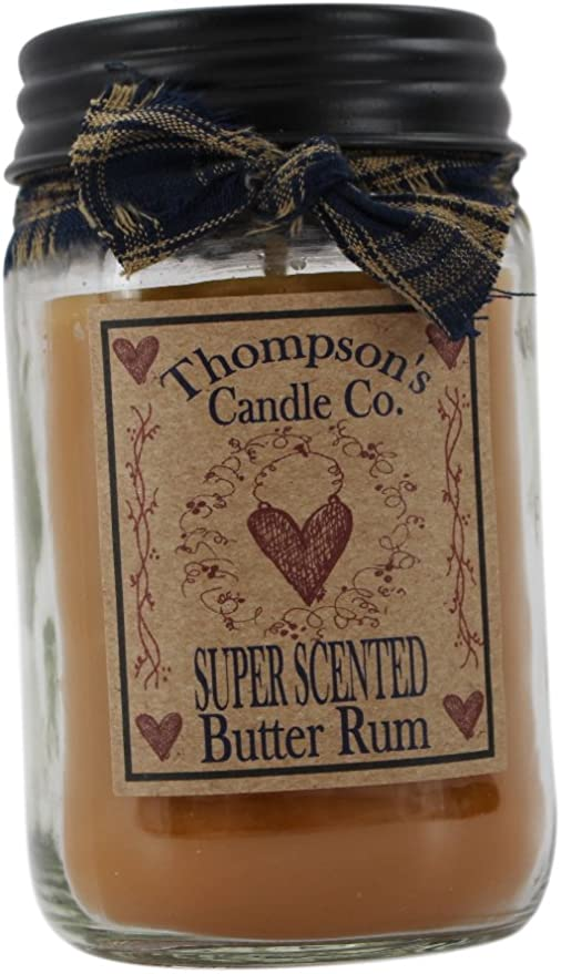 Amazon Com Thompson S Candle Co Butter Rum Mason Jar Candles Home Kitchen