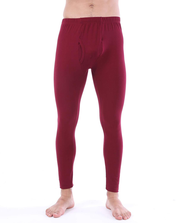 LANBAOSI Mens Thermal Underwear Pants, Fleece Lined Long Johns Leggings Cold Weather Base Layer Bottoms Wine Red by LANBAOSI