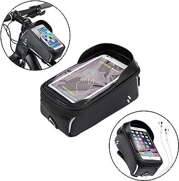 Auidy_6TXD Bolsa Impermeable para Marco de Bicicleta con Orificio para Auriculares, Soporte para teléfono para iPhone, Samsung y Otros Smartphones de Menos de 6 Pulgadas: Amazon.es: Deportes y aire libre