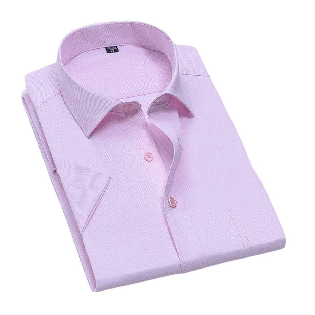 RSunshine Men Career Turn-Down Collar Pure Color Short Sleeve Western Shirt