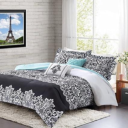 Amazon.com: Teen Girl Comforter Sets Teal Black White Damask