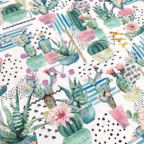 Largo a elecci/ón de 50 en 50 cm Cactus y flores Ancho 280 cm Tela por metros de loneta estampada digital