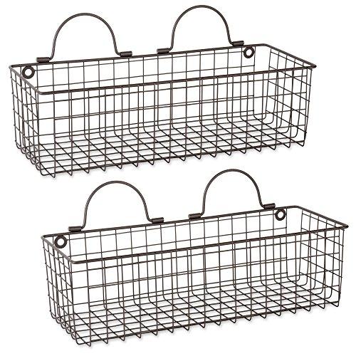 DII Z02020 Rustic Farmhouse Vintage Hanging Wall Mounted Wire Metal Basket, Set of 2 Medium, -
