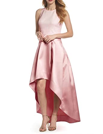 LanierWedding Womens Retro High Low Long Satin Prom Dresses Open Back Sleeveless Formal Gowns