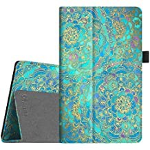 Fintie Folio Case for All-New Amazon Fire HD 8 Tablet (7th Generation, 2017 Release) - Slim Fit Premium Vegan Leather Standing Protective Cover with Auto Wake / Sleep, Shades of Blue