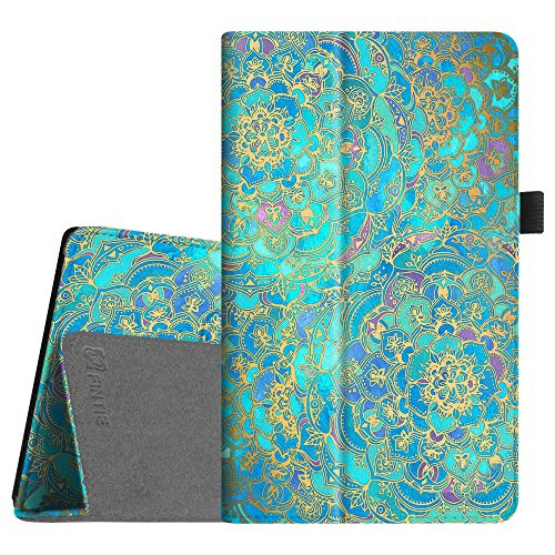Fintie Folio Case For All New Amazon Fire Hd 8 Tablet  7Th Generation  2017 Release    Slim Fit Premium Vegan Leather Standing Protective Cover With Auto Wake   Sleep  Shades Of Blue