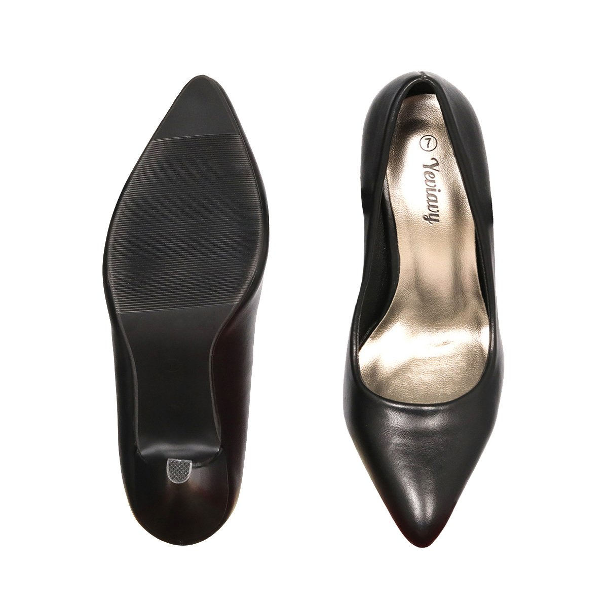 Yeviavy Women's Pumps Shoes High Heel Pointed Toe Dress Fashion Shoes Black/Pewter PU 8.5 by Yeviavy (Image #2)
