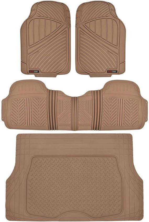 Motor Trend MT-773-BG+MT-884-BG Beige Flextough Odorless Rubber Car Floor Mats Front & Rear Cargo Liner Trunk Set