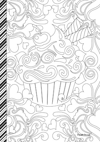 Cupcake Journal: Cupcakes and Hearts Journal/Notebook: Color Me - Color The Cover (Adult Coloring Cover) : 7x10 lined (Cupcake Journal)