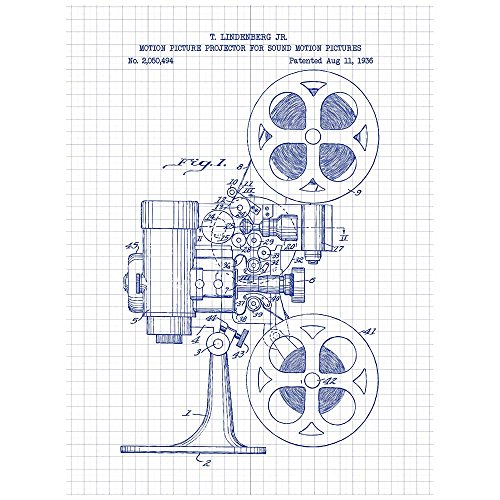 """Inked and Screened Vintage Inventions """"Motion Picture Projector - T. Lindenberg Jr. - 1936"""" Design Art Poster Silk Screen Print, 8.5"""" x 11"""", White Grid-Blue Ink"""