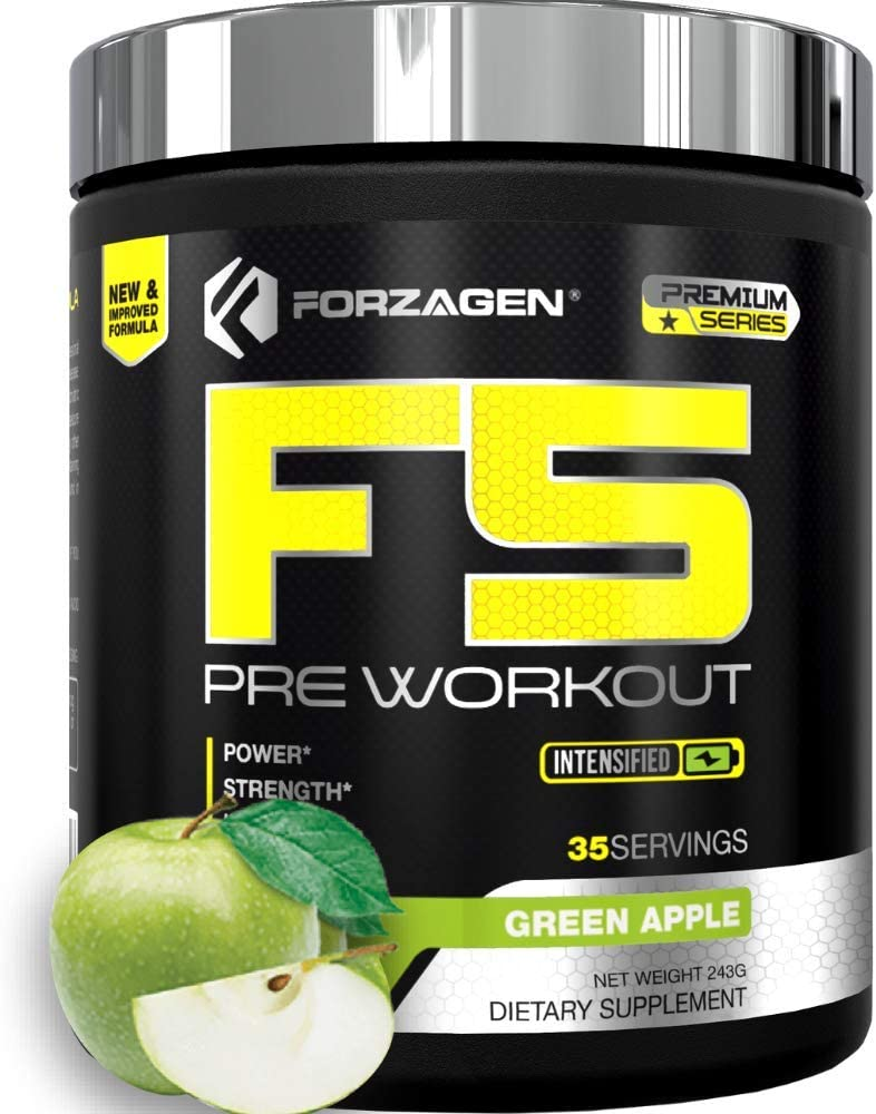 Forzagen F5 Pre Workout Powder - Energy Pre Workout Supplements Available in 4 Flavors | 35 Servings | Premium Energy Supplement with Caffeine Powder | Beta Alanine | L Citrulline (Green Apple)