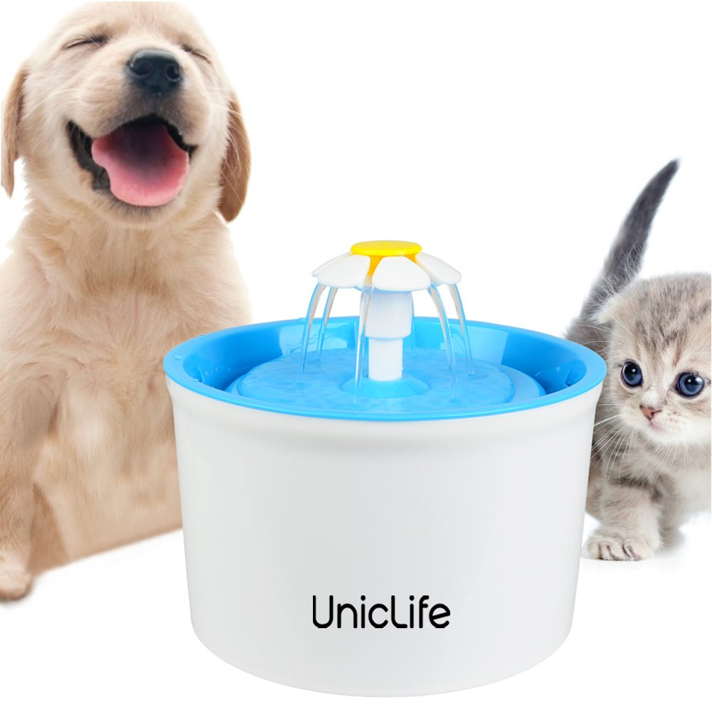 Amazon.com : Uniclife Flower Pet Fountain 56 Oz BPA Free Water Dispenser Drinking Bowl for Cats Bird Bath and Small Dogs, Blue : Pet Supplies