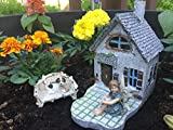 Fairy Garden Kit with Fairy Lights: House with Patio, Sitting Fairy, Dog, Cat, and Loveseat bench, Indoor or outdoor 5 piece deluxe set (blue, green charcoal, pink)