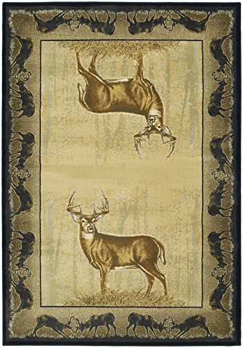 United Weavers of America Buck Wear Collection Believe Deer Rug, 5-Feet 3-Inch by 7-Feet 6-Inch, Natural