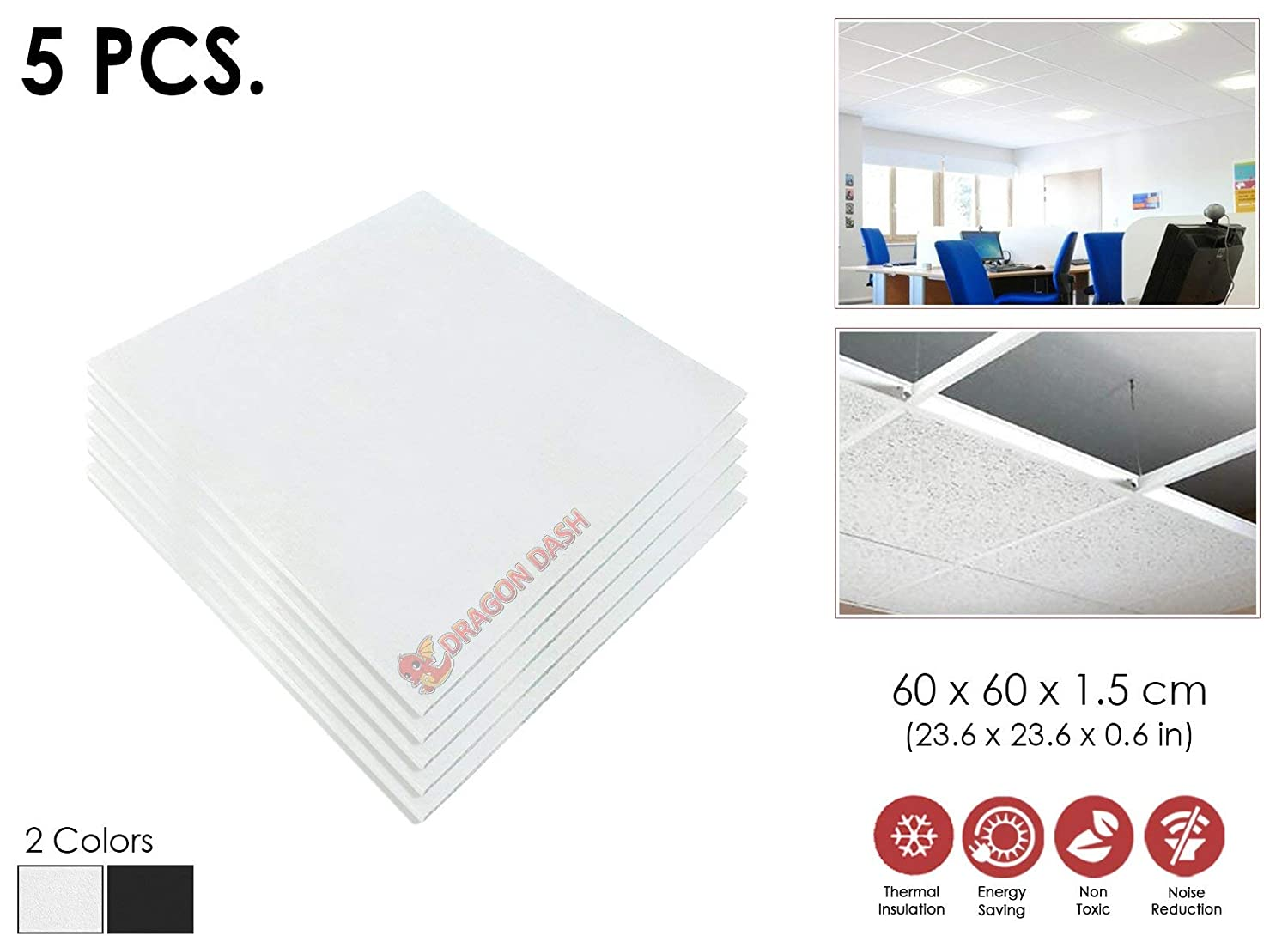 5 Pcs White Thermal Sound Absorbing Moisture Proof