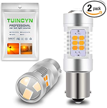 2pcs Extremely Bright 1141 1156 Turn Signal Bulbs With 21 SMD LED Bulbs Yellow For Turn Signal Lights Blinker Lamps Amber