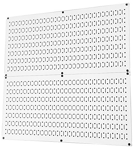Wall Control Pegboard Rack Home & Garage Tool Storage & Organization White Metal Pegboard Pack - Two 32-Inch x 16-Inch White Steel Peg Board Panels